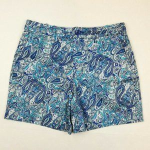 INTRO LOVE THE FIT WOMENS BLUE PAISLEY PRINT SHORT